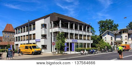 Aarau, Switzerland - 7 July 2016: buildings on Laurenzenvorstadt street. Aarau is a city situated n the valley of the Aare river on the Swiss plateau, it is the capital of the Swiss canton of Aargau.