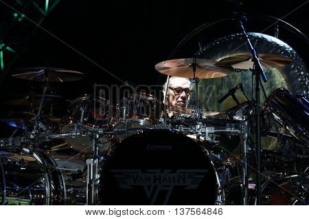 WANTAGH, NY-AUG 14: Alex Van Halen of Van Halen performs onstage at Jones Beach Theater on August 14, 2015 in Wantagh, New York.