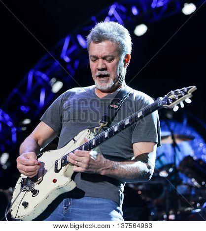 WANTAGH, NY-AUG 14: Eddie Van Halen of Van Halen performs onstage at Jones Beach Theater on August 14, 2015 in Wantagh, New York.