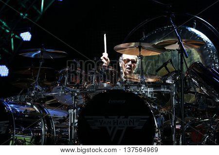 WANTAGH, NY-AUG 14: Alex Van Halen of Van Halen performs onstage at Jones Beach Theater on August 14, 2015 in Wantagh, New York.