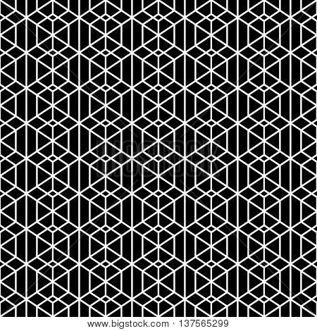 Monochrome seamless pattern. Modern stylish geometric texture with regularly repeating linear hexagons rhombuses diamonds. Vector element of graphic design