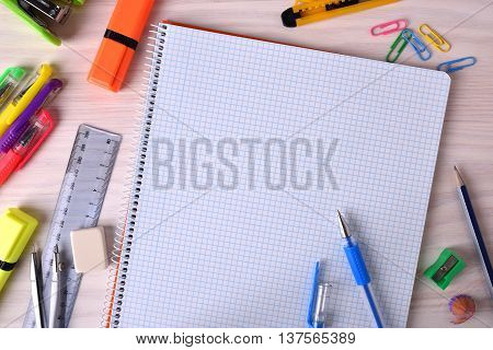 Student Material On Wooden Table