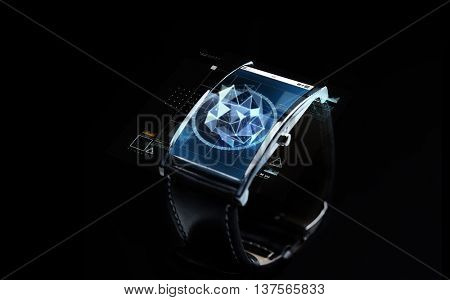 modern technology, science, object and media concept - close up of black smart watch with polygonal shape projection over screen