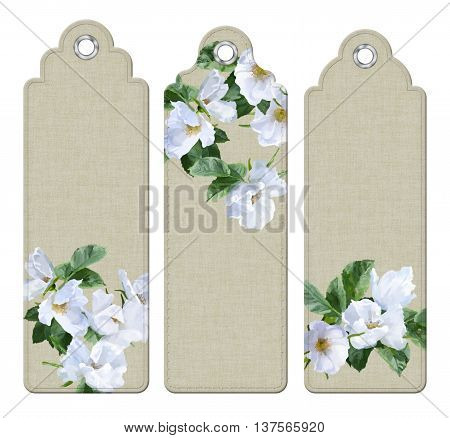 Set of decorative tags or bookmarks with watercolor white summer flowers. Floral digital painting