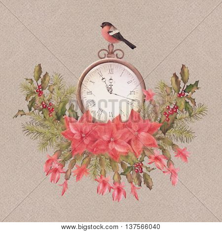 Watercolor Christmas greeting card. Holiday Composition of the Christmas decorations, clock and bird bullfinch in vintage colors