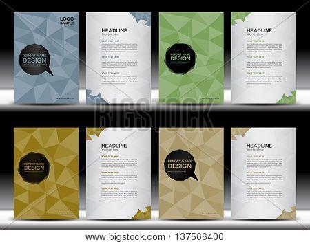 Set of covers design, Annual report template vector illustration, polygon Background, leaflet, book  ,booklet, portfolio, brochure flyer, company profile, catalog, magazine ads
