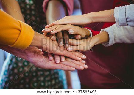 Focus on hands together at work