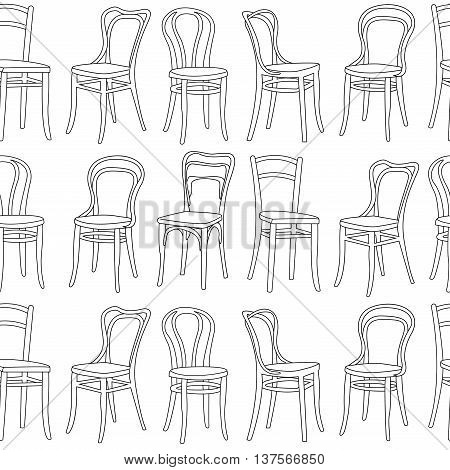 Seamless pattern chairs. Line drawing a black chairs on a white background.