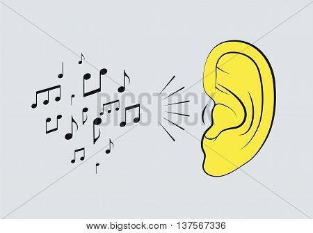 Ear with music notes. Music vintage style poster. Retro vector illustration.