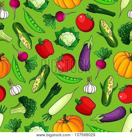 Seamless pattern of freshly harvested farm tomatoes and bell peppers, sweet corn cobs and pumpkins, green peas, broccoli and asparagus, ripe eggplants and cauliflowers, spicy garlic and radishes vegetables on green background