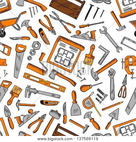 Construction hand tools seamless pattern background with hammers, screwdrivers and spanners, pliers, axes and trowels, paint brushes and rollers, knives, saws and scissors, nails and fasteners, drawings, rullers and carpentry instrument kits