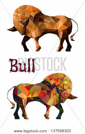 Stylized bull isolated on a white background. Made in low poly triangular style. Vector.
