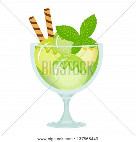 Ice cream dessert in a glass cup. Milk shake with mint flavor. Vector illustration.