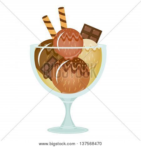 Ice cream dessert in a glass cup. Milk shake with chocolate flavor. Vector illustration.