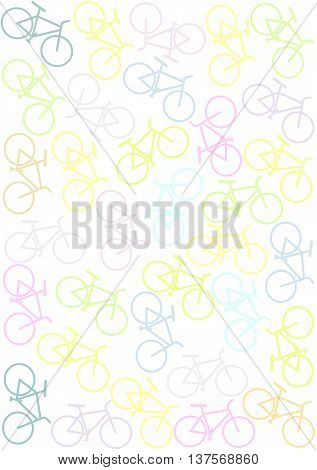Colorful  background with bikes. - vector image.
