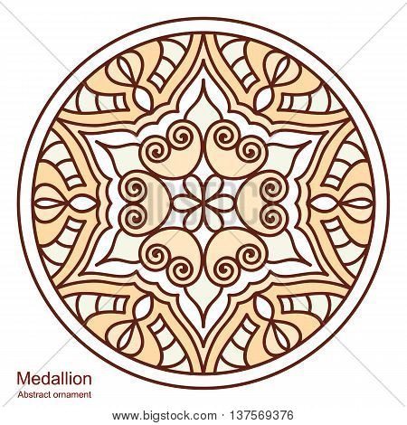 Ethnic medallion. Vintage decorative elements. Mandala on white background. Round hand-drawing. Oriental style India Arab Islam ottoman motifs.
