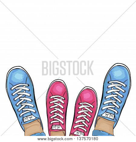 Summer trendy sports shoes. Feet in sports shoes sneakers. Loving couple in gym shoes. Vector illustration