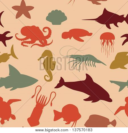 seamless pattern with silhouettes of different aquatic animals