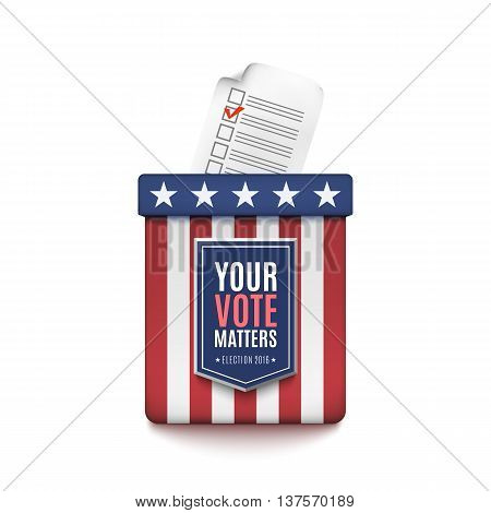 Election ballot box with Voter Registration Application form isolated on white background. Vector illustration.
