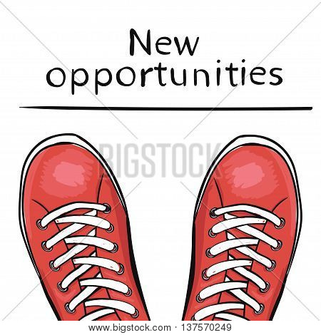 Summer trendy sports shoes. Feet in athletic shoes sneakers before feature new opportunities. The business concept. Vector illustration