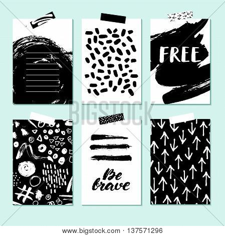 Modern vector card set for planner journaling scrapbooking congratulations invitations with stickers. Abstract ink dry brush illustrations with strokes and textures. Freehand lettering.