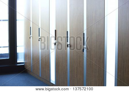 Wooden Cupboard Lockers in an office