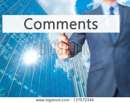 Comments - Business Man Showing Sign