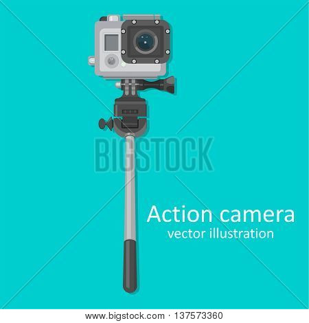 Realistic icon of action camera with a stick for a selfie for video and photographing. A vector illustration in flat style.