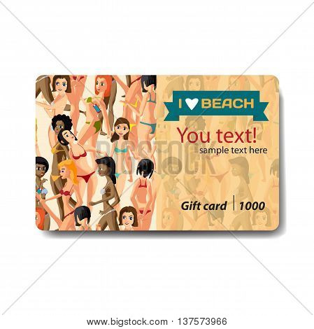 Women dressed in swimsuit. Sale discount gift card. Branding design for swimwear and lingerie shop