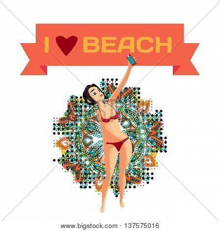 Brunette woman dressed in red swimsuit is standing and makes selfie. Isolated flat cartoon illustration. The comic girl on the beach in red bikini with smartphone