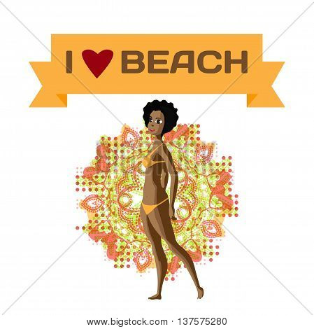 Slender afro black woman dressed in yellow swimsuit is standing. Isolated flat design illustration. The comic tall afro woman on the beach in yellow bikini