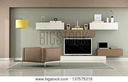 Brown And Green Living Room With Television Set