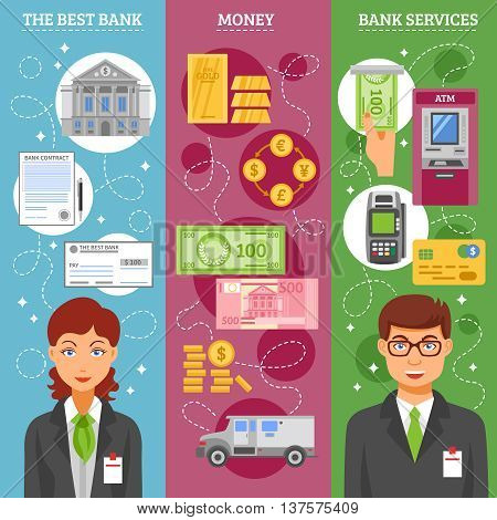 Bank services vertical banners with credit card cash money card reader pos terminal and bank employees flat icons collection vector illustration