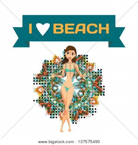 Slender woman dressed in green swimsuit is standing and spreads his arms. Isolated flat design illustration