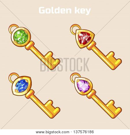 Cartoon Golden key with diamond in vector