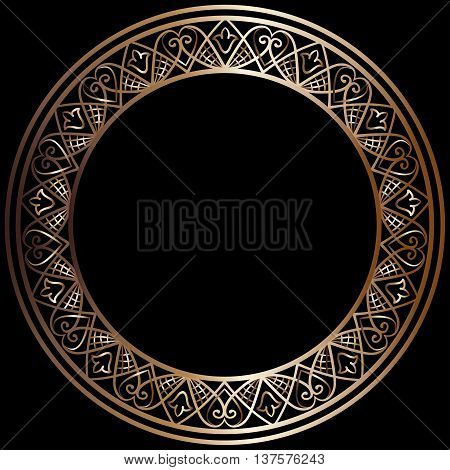 drawing of a round bronze gradient frame  with floral ornament on a black background, vector