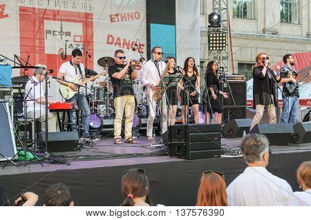 St. Petersburg, Russia - 2 July, Performance of jazz musicians on the stage, 2 July, 2016. Annual international festival of jazz and blues in St. Petersburg.
