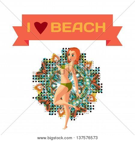 Red-haired woman dressed in green swimsuit is standing on one leg sunbathe. Back view. Isolated flat cartoon illustration.