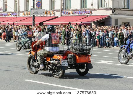 St. Petersburg, Russia - 9 May, Motorcycle with sidecar, 9 May, 2016. Memory Action