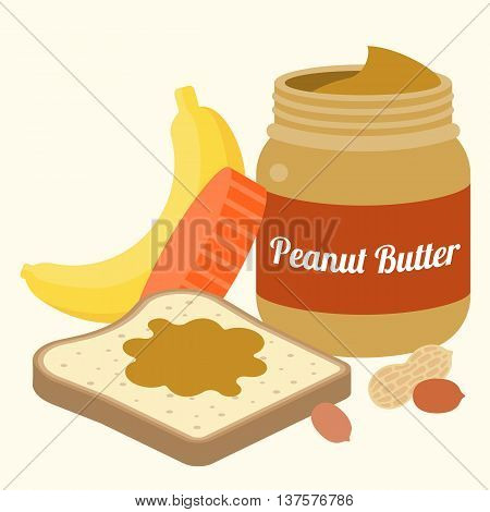 Vector peanut butter, bread, peanuts and banana, flat design