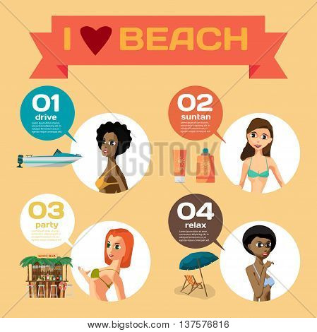 Vector Infographic set flat design about women on the beach. How do they spend their time on coast. Character girls sunbathe swim leisure favorite