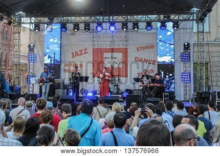 St. Petersburg, Russia - 2 July, People on the Jazz Festival, 2 July, 2016. Annual international festival of jazz and blues in St. Petersburg.
