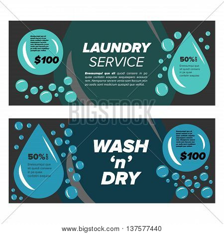 Laundry service banners with bubbles and water drop