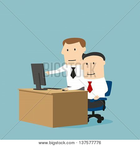 Teamwork and assistance business concept design usage. Concentrated cartoon businessman and boss are working together on a project using desktop computer