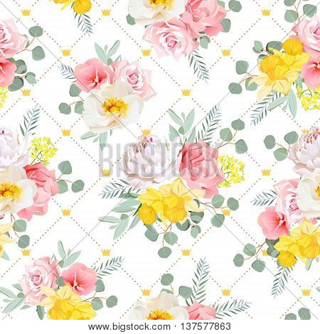Summer sunny floral seamless vector pattern. Peony wild rose narcissus carnation pink and yellow flowers. Simple dotted backdrop with diagonal lines and small princess crowns.