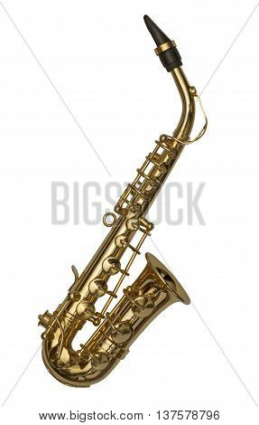 Brass saxophone isolated on a white background
