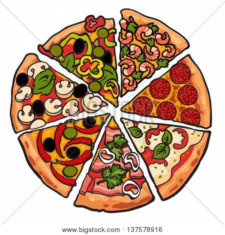 Set of various pizza pieces, sketch style vector illustration isolated on white background. Slices of freshly baked and tasty mashroom pepperoni pepper shrimp cheese pizza. American Italian fastfood
