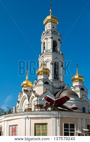 Great Zlatoust church or Maximilian church - orthodox church bell tower in Yekaterinburg which was destroyed in 1930 and reconstructed in 2006 - 2013.