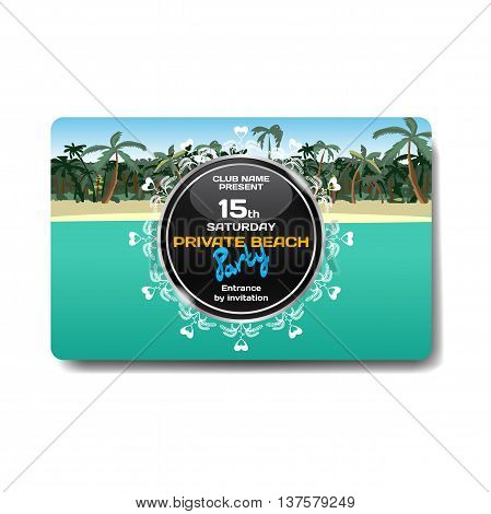 Vector summer party flyer. Landscape tropical beach. Posters invitations templates.