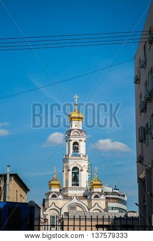 YEKATERINBURG RUSSIA - AUGUST 24 2013. Great Zlatoust church or Maximilian church - orthodox church bell tower in Yekaterinburg which was destroyed in 1930 and reconstructed in 2006 - 2013.
